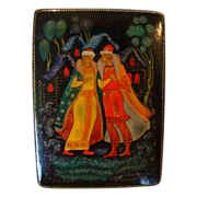 SALE Beautiful Miniature Russian Lacquer ~Papier Mache~ Miniature Box ~ 1973 ~ Palekh Style ~
