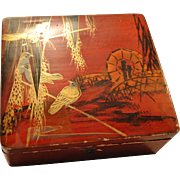 SALE Nice old Makie Lacquer Box ~Birds on Rice branches ~ 1891+