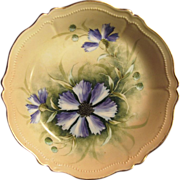 SALE Attractive Austrian Porcelain Bowl ~ Hand Painted with Purple Clematis ~ Artist Signed â€