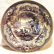 "SALE Amazing 11 ½"" W English Blue & White Transferware Bowl ~ ""Damascus"" pattern by ..."