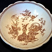 SALE Awesome English Bowl with Oriental Symbols ~ Aesthetic Earthenware Brown Transferware ~ T
