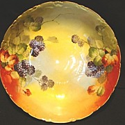 SALE Beautiful Porcelain Bowl ~ Hand Painted with Blackberries by France Studios Chicago IL~ .