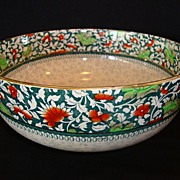 SOLD Wonderful Earthenware English Serving Bowl ~ Red & Green Flowers ~ Royal Doulton England