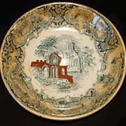 """SALE Nice Finger or Berry Bowl Decorated with Green Transfer and a """"Abbey"""" Church Scene .."""