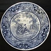 SALE Nice Blue English Earthenware Transferware Bowl or Large Saucer ~ Courtship Scene ~ ...
