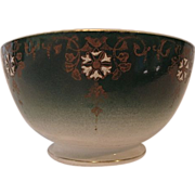 SALE Beautiful French Faience Bowl ~ Teal with White Enamel Flowers ~ Keller Guerin Luneville