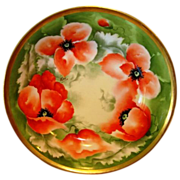 SALE BEAUTIFUL Limoges Porcelain Master Serving Bowl ~ Hand Painted with Orange & White Poppie