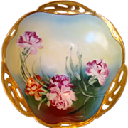 SOLD Amazing Bavarian Porcelain Reticulated Bowl ~ Hand Painted with Carnations ~ BRC Racine B