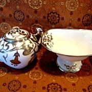 SALE Exquisite Porcelain Creamer & Sugar Compote Set~ Sterling Silver Overlay Trumpet  Floral