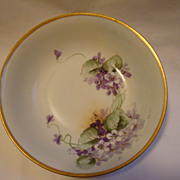 SALE Wonderful German Porcelain Bowl ~ Hand painted with Purple Violets ~ Krister Porcelain ..