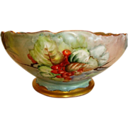 SALE Awesome Master Bowl / Punch Bowl ~ Limoges Porcelain ~ Hand Painted with Currants ~ Signe