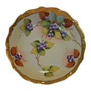 "SALE Beautiful Bowl ~ Limoges Porcelain ~ Pickard Studio ""BLUEBERRIES"" by ANTON BEUT"