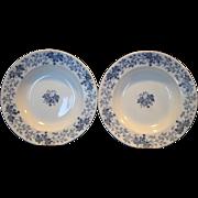 "SALE 2 ~Nice French Blue Faience 9 1/2"" W Soup Bowls~ Blue Leave & Vines ..."