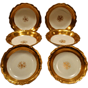 SALE Beautiful Limoges Porcelain Berry or Dessert Bowls ~ Gold Rimmed ~ Blakeman & Henderson L