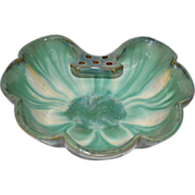 "SALE Gorgeous FULPER Pottery Large Shell Form Bowl with Attached ""Tab"" Frog - shape"