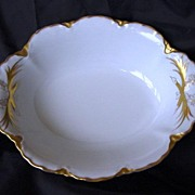 SALE Impressive Porcelain Hand Painted Scalloped Edge Oval Serving Bowl White with Gold Rococo