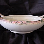 SALE MZ Austria Hand Painted Porcelain BonBon Bowl with Roses and Luster Inside, Two Handled
