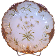 SALE Stunning Limoges Porcelain Bowl / Dish ~ Hand Painted with White Flowers ~ Laviolette / .