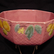 SALE Beautiful PINK Octagonal Majolica Bowl – Fruit Motif with Basket Weave ~ Georg Schmider
