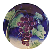 SALE Attractive French Majolica Bowl ~ Decorated with Purple Grapes~ GIEN (Gien, France) ...