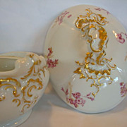 SALE Awesome Covered Dish ~ Limoges Porcelain ~ Factory Decorated with Magenta Flowers ~ Jean