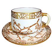 SALE Attractive 127 Yr Old English Porcelain Cup & Saucer ~ Thorn pattern ~ Edwin James ...