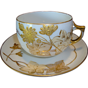 SALE Unique Large Limoges Porcelain Cup & Saucer ~ Hand Painted with Gold Enameled Flowers ~ A