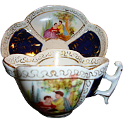 SALE RARE German Porcelain Cup and Saucer ~ Hand Painted Quatrefoil Panels of Courting Scenes