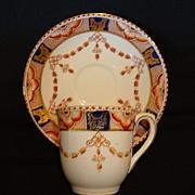 SALE Nice English Cup & Saucer ~ Imari Pattern Cobalt & Orange ~ BOOTHS & COLCLOUGHS, Ltd. (St