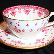 SALE Delicate Miniature Bone China English Cup and Saucer ~ Red Fleur de leis ~ ...