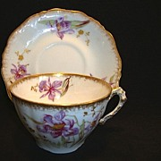 SALE Gorgeous Limoges Porcelain Cup and Saucer ~ Hand Painted with Purple Japanese Iris or Orc
