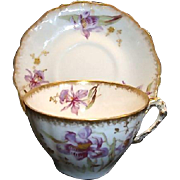 SALE Gorgeous Limoges Cup and Saucer ~ Porcelain ~ Hand Painted with Purple Japanese Iris ...