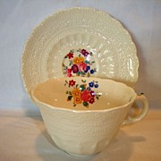 SALE Elegant English Cup and Saucer ~ Raised Relief Designs with Dresden Like Flowers ~ ...