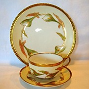 SALE Awesome Limoges Trio Set ~ Plate, Cup & Saucer ~ Hand Painted with Calla Lily Flowers ~ B
