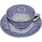 SALE Awesome English PURPLE Transferware Cup & Saucer ~ By New Wharf Pottery England 1891-1894