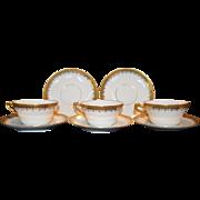 SALE Fine Set Of 3 Gold Encrusted Tea Cups  & Saucers– Latrille Freres / PM Mavaleix Limoges