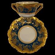 SALE Exquisite Bouillon Cup & Saucer ~  Limoges Porcelain ~ Double Handled  ~Teal & Gold ...