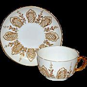 SALE Fantastic Cup & Saucer Set ~ Limoges Porcelain ~ Raised Gold Paste and Enamel Flowers ...