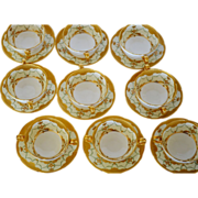 SALE Set of 9 Mintons Bouillon Cups and Saucers ~ Exquisitely  Decorated with  Gold & Enamel P