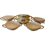 SALE Six ( 6 ) EXQUISITE Bavarian Double Handled Bouillon Cups ~ Hand Painted with Pink & Yell