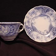 "SALE Nice English Blue & White Semi-Porcelain ""Flow Blue"" Cup and Saucer ~ ""Richmond """