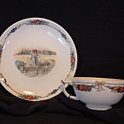 """SALE Wonderful French Cup and Saucer with Couple in Wheat Field ~ """"Obernai"""" Pattern ~ ..."""