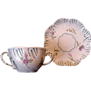 SALE Exquisite Limoges Porcelain Cup and Saucer ~ Hand Painted with Various Flowers ~ A ...