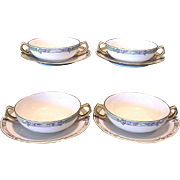 SALE 4 Sets ~ Delightful Bavarian Two Handled Bouillon Cups and Matching Limoges Sandwich ...