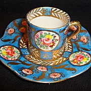 SALE Great Miniature Porcelain Cup and Saucer ~ Hand Painted with Flowers and Gold ~ Hokutosha