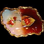 SALE Exquisite Austrian Porcelain Dish ~ Hand Painted  Autumn Currants ~ Pickard Artist Signed