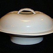 SALE Wonderful Limoges Porcelain Covered Butter Dish ~ White with Basket Weave Braided Handles