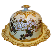 SALE WOW!! Phenomenal Limoges Domed Cheese / Butter Dish ~ Hand Painted with Blackberries & ..