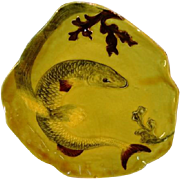SALE Awesome Majolica Dish with Carp like Fish and Seaweed ~ 8221
