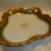 SALE Beautiful Lobed Handled Nappy Dish ~ Limoges France ~ Gold with Green Band ~ Blakeman & H